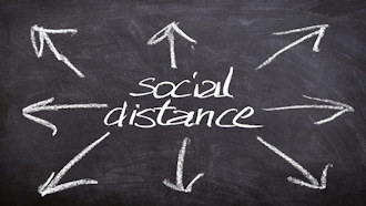 "Chalkboard image depicting the words ""social distance"" with arrows pointing away"
